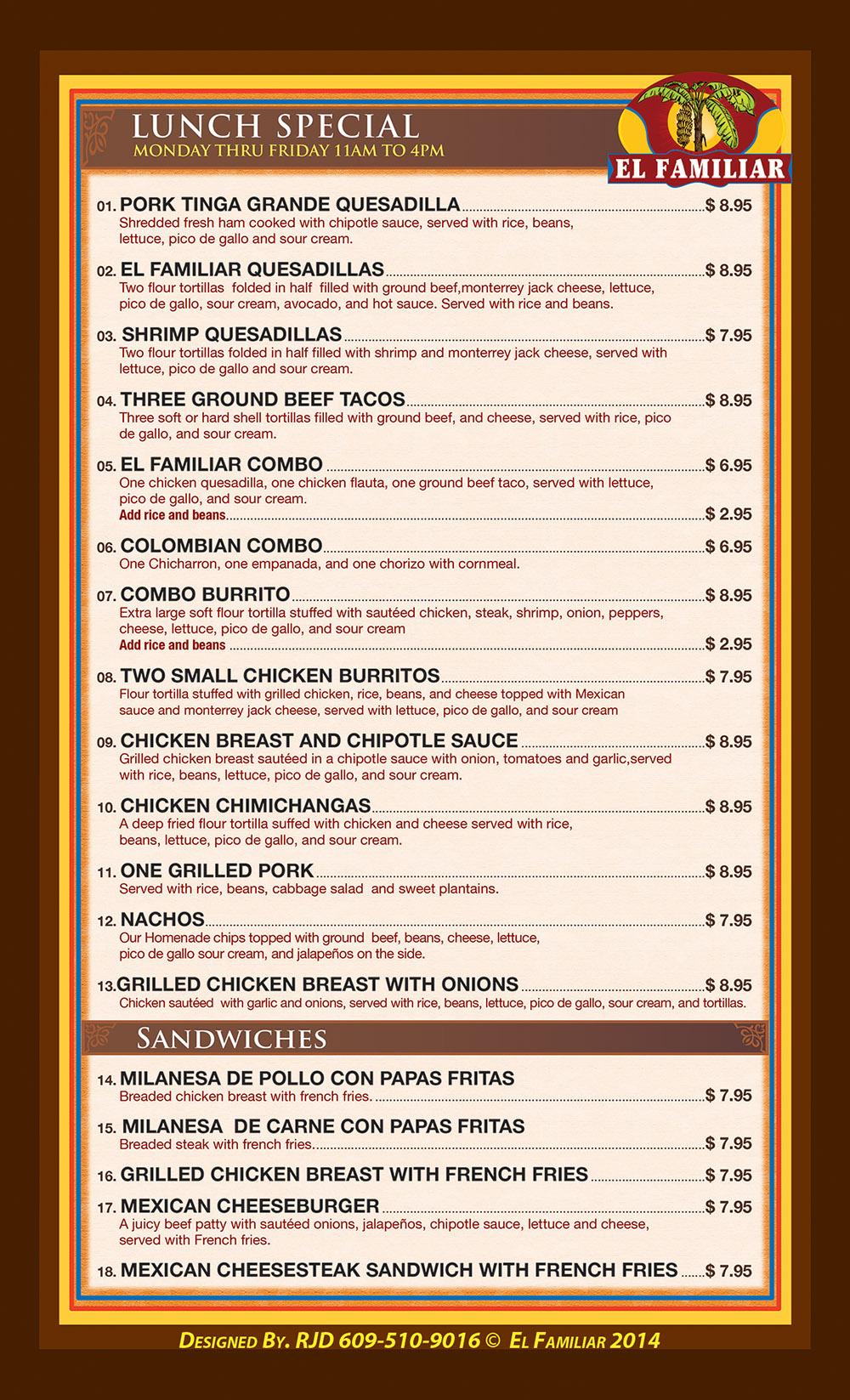 El Familiar Lunch Menu page 2