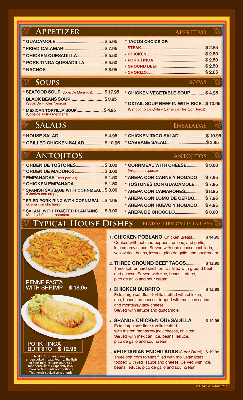 El Familiar Menu - Spanish Restaurant Toms River NJ | El
