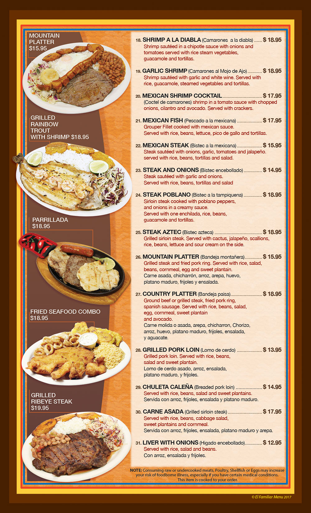El Familiar Menu Page 3