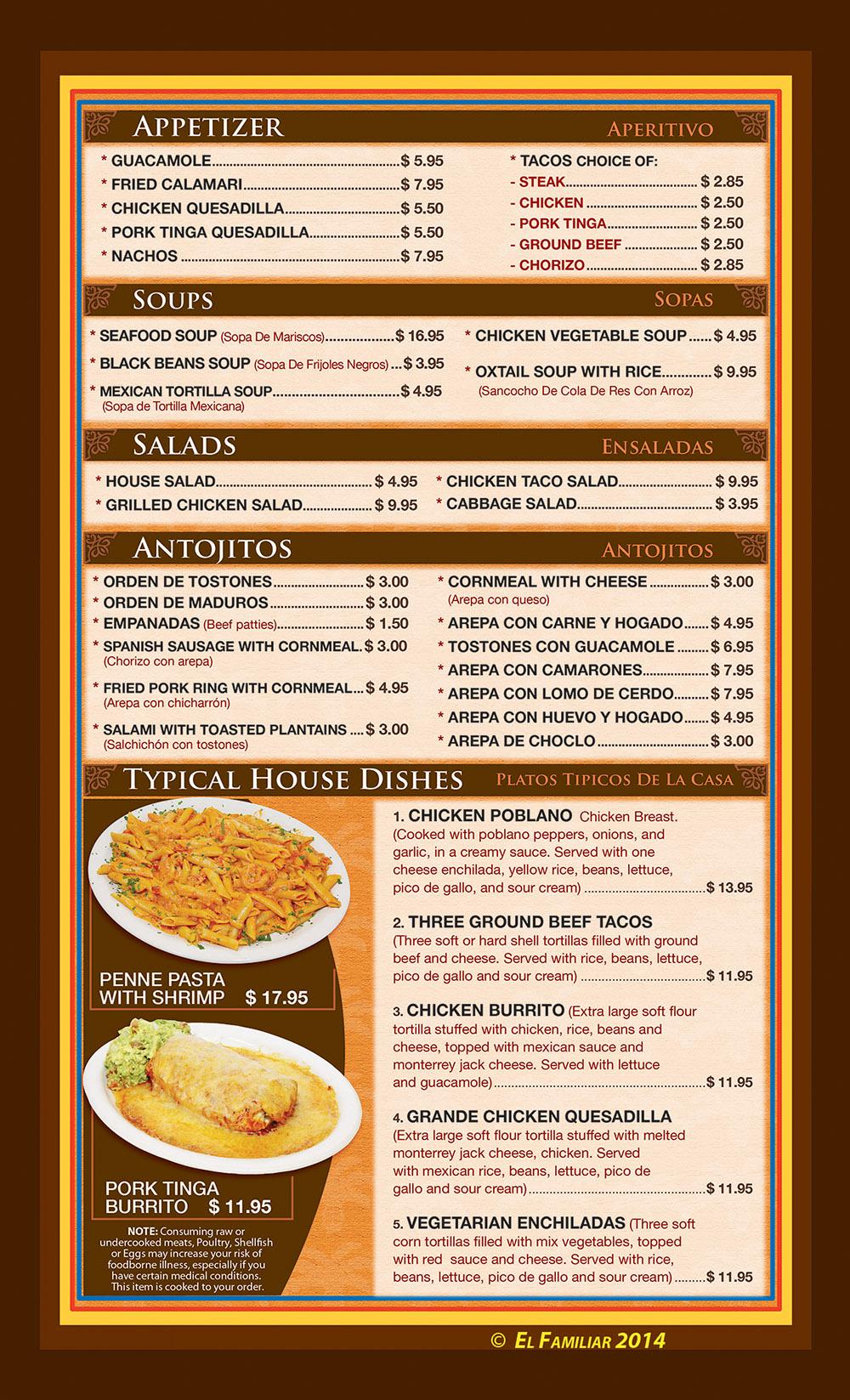 El familiar menu page 1