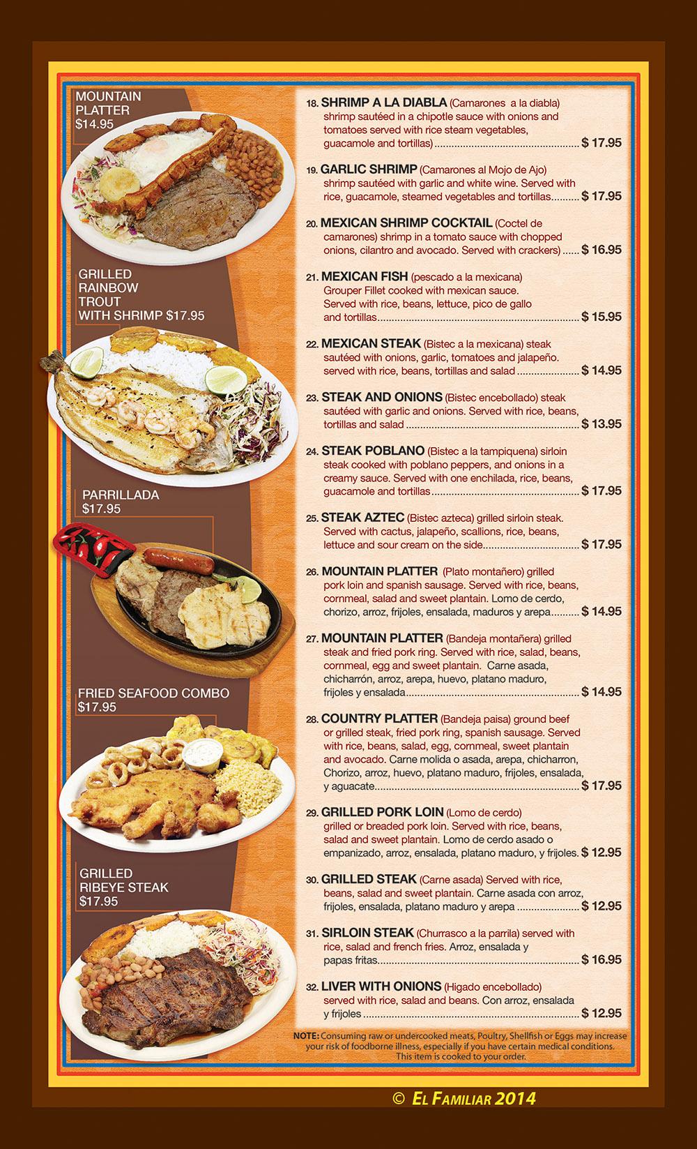 El familiar menu page 3